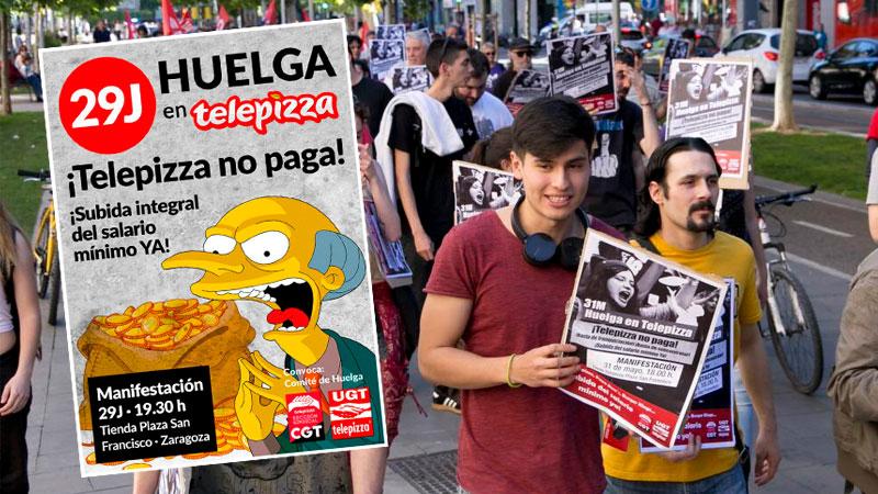 Telepizza sigue sin pagar el SMI y la plantilla volverá a la huelga el 29J