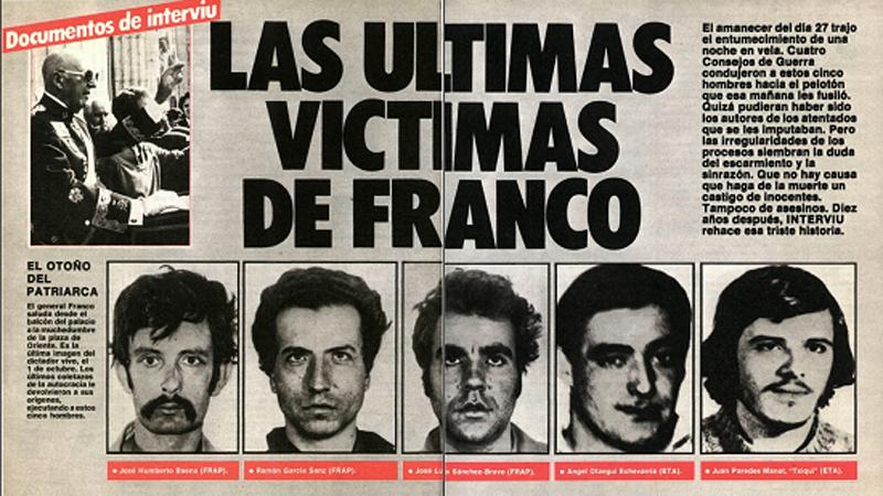 Resultado de imagen de los últimos fusilamientos de FRanco