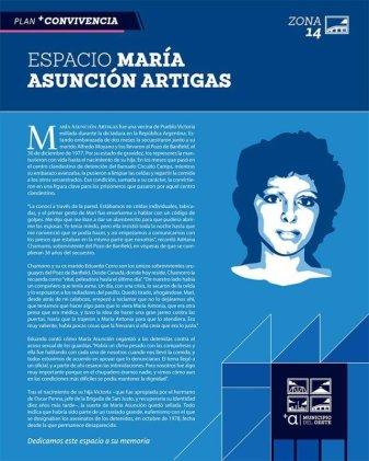 Homenaje a María Asunción Artigas en nuevo espacio público del Municipio A