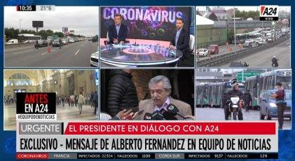 """Fernández desde A24: """"Está todo organizado, si no entra con la razón, entra con la fuerza"""""""