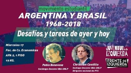 Castillo y Bonavena disertarán en Jujuy sobre el movimiento estudiantil de Argentina y Brasil
