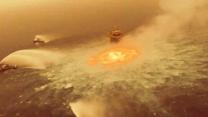 Impactante incendio en plataforma petrolera en el Golfo de México