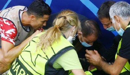 Cristiano Ronaldo noqueó de un pelotazo a una policía antes del partido con Young Boys