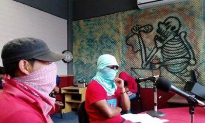 Student teachers (Normalistas) take over radio stations in Guerrero, Mexico.