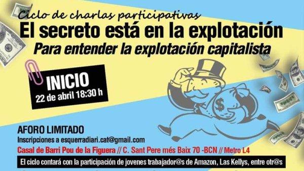 El secreto está en la explotación: talleres en Barcelona para entender la explotación capitalista