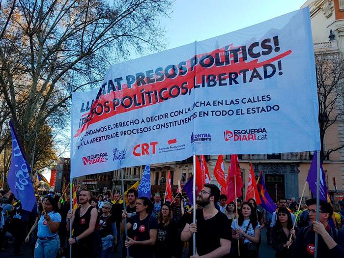 La Corriente Revolucionaria de Trabajadoras y Trabajadores (CRT) dello Stato spagnolo nella mobilitazione per l'autodeterminazione della Catalogna e per la liberazione dei prigionieri politici catalani.